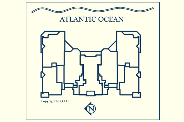 Siteplan for Las Olas Beach Club, Luxury Oceanfront Condominiums Located at 101 South  Fort Lauderdale Beach Boulevard, Fort Lauderdale, Florida 33316