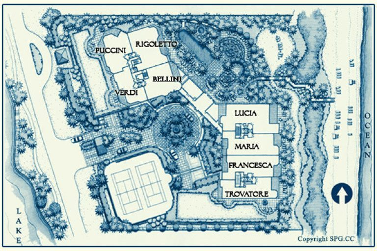 Siteplan for Bellaria, Luxury Oceanfront Condominiums Located at 3000 South Ocean Boulevard, Palm Beach, Florida 33480