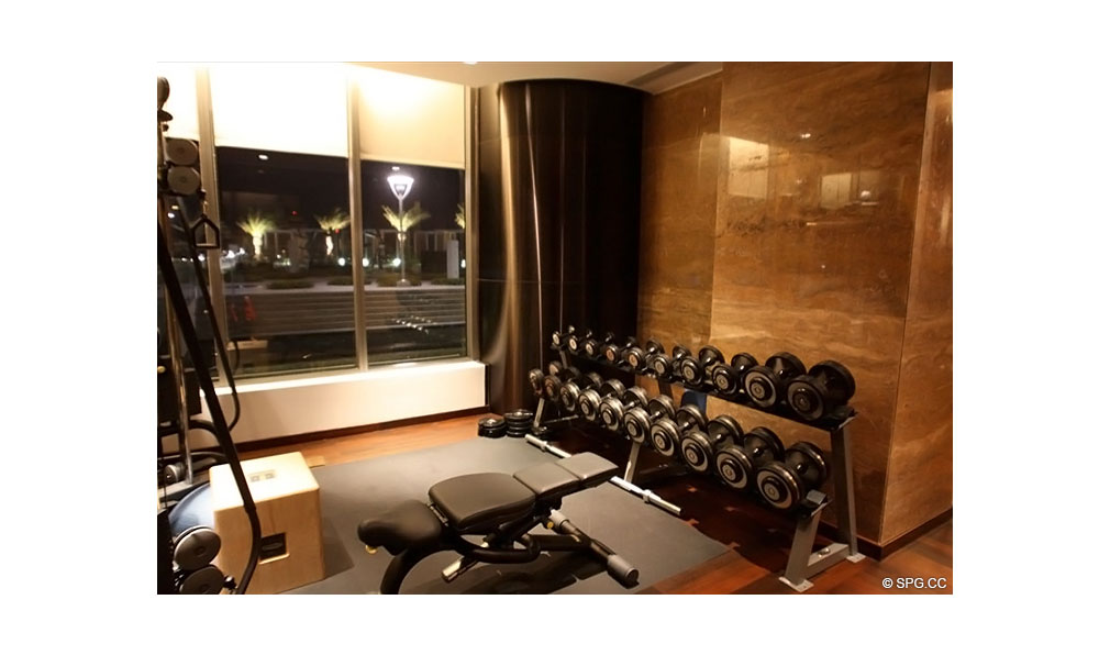 Gym at Apogee South Beach, Luxury Waterfront Condominiums Located at 800 South Pointe Dr, Miami Beach, FL 33139