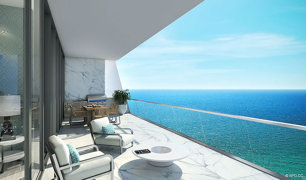 Large Private Terraces at Turnberry Ocean Club, Luxury Oceanfront Condos Located at 18501 Collins Avenue, Sunny Isles Beach, Miami 33160
