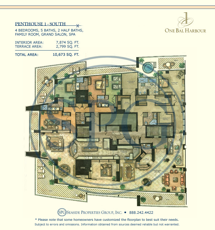 Residence PH1 Floorplan at One Bal Harbour, Luxury Oceanfront Condo