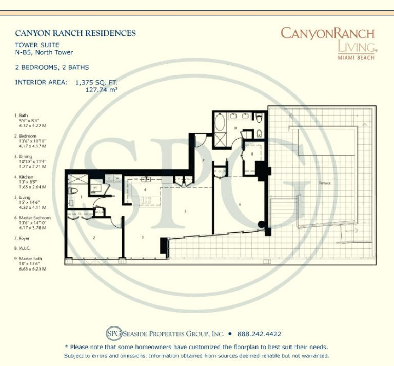 Tower Suite N-B5 Floorplan at Canyon Ranch Living, Luxury Oceanfront Condos on Miami Beach