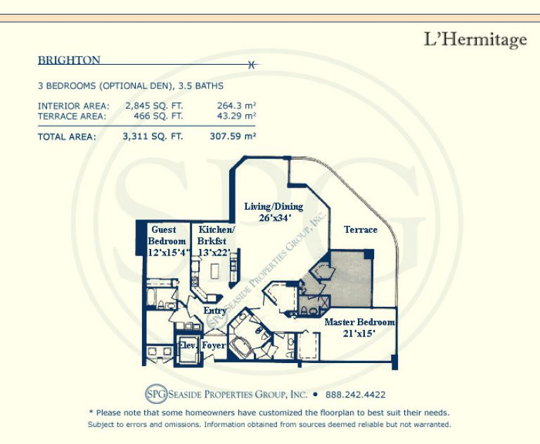 floorplan, brighton, l'hermitage, luxury, oceanfront, condo, florida, 33308