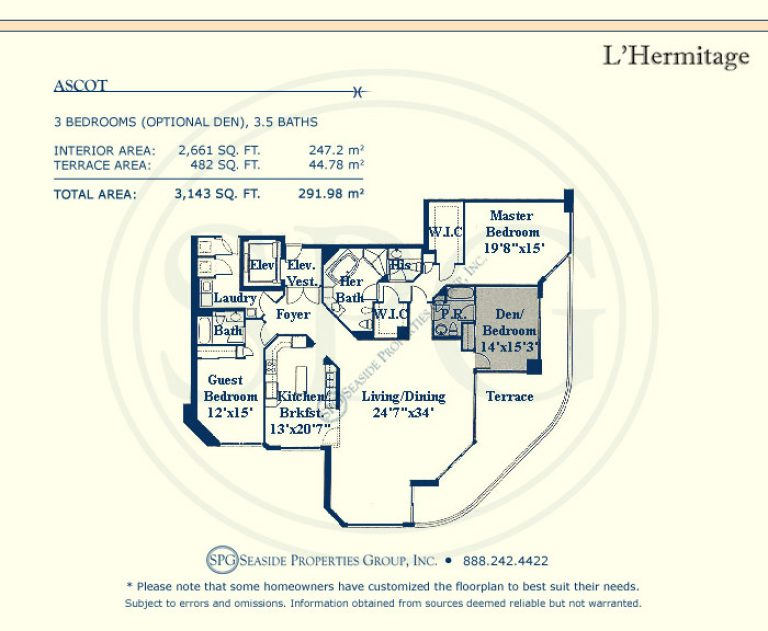 l'hermitage floorplan, luxury oceanfront condos, in fort lauderdale