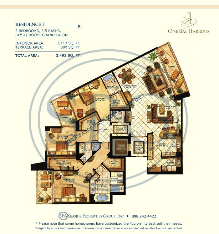 Residence I Floorplan at One Bal Harbour, Luxury Oceanfront Condo