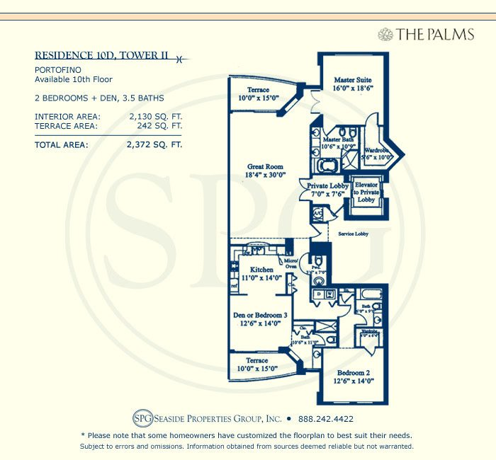 Floorplan for Residence 10D, Tower II at The Palms, Luxury Oceanfront Condominiums Fort Lauderdale, Florida 33305
