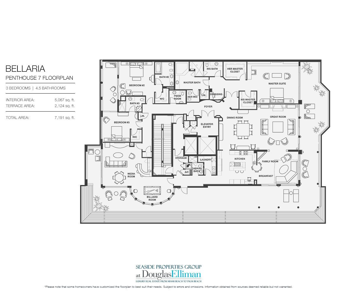 Floorplan for Penthouse 7 at Bellaria, Luxury Oceanfront Condominiums in Palm Beach, Florida 33480.