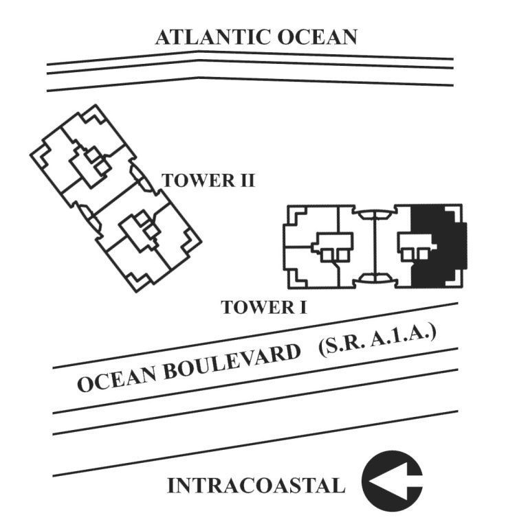 Siteplan for Residence 9B, Tower I at The Palms, Luxury Oceanfront Condos in Fort Lauderdale, Florida 33305.