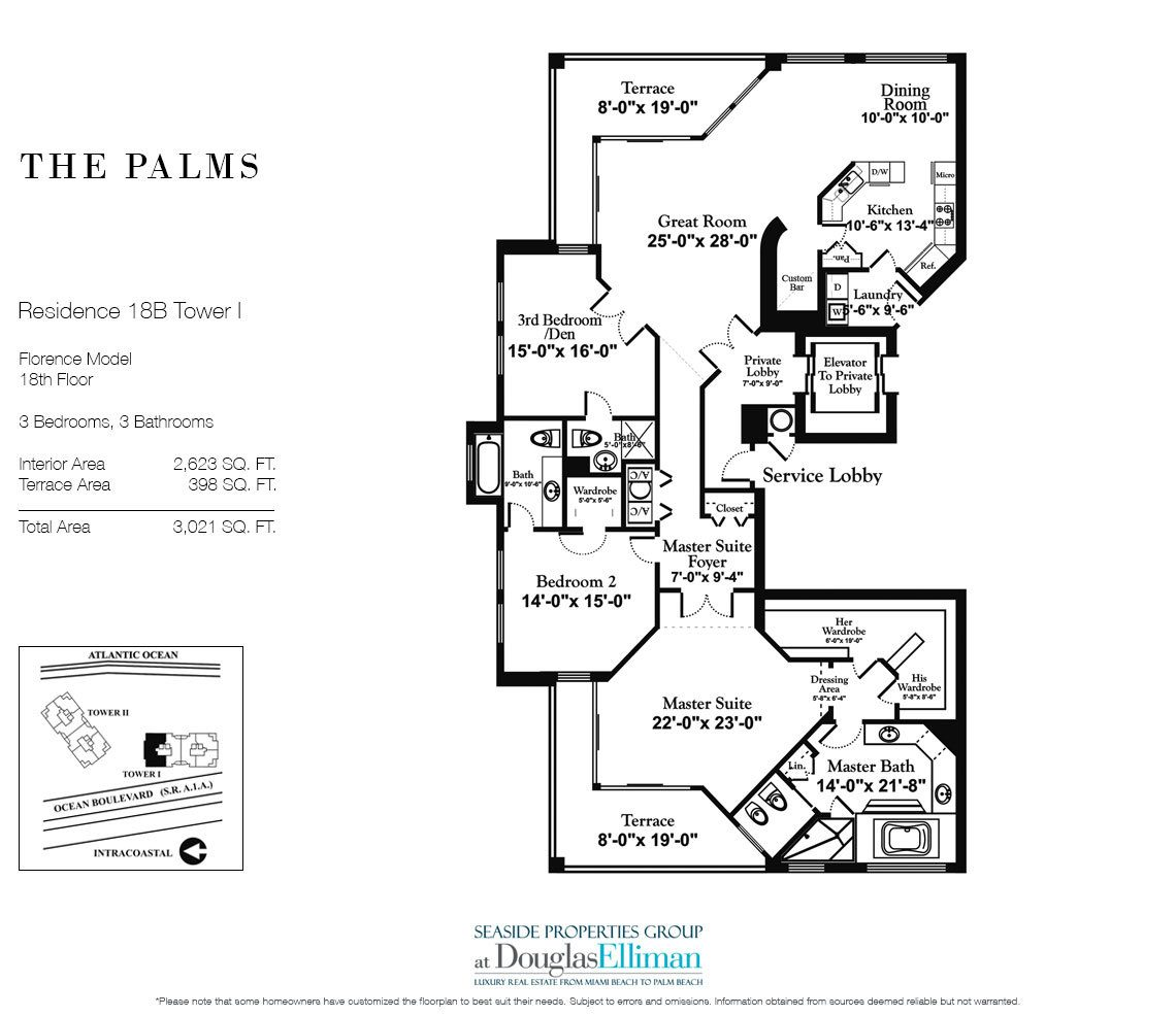 Floorplan for Residence 18B, Tower I at The Palms, Luxury Oceanfront Condominiums Fort Lauderdale, Florida 33305