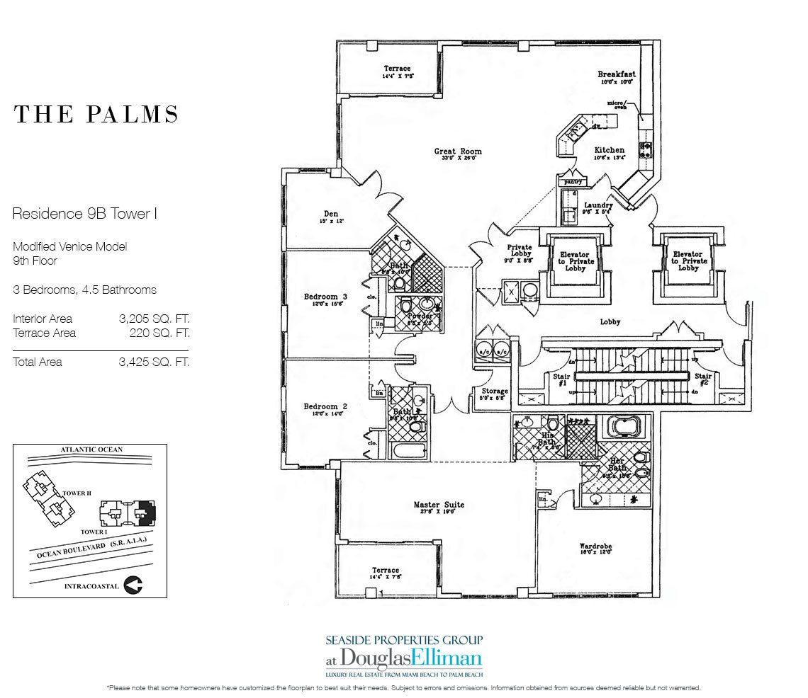 Floorplan for Residence 9B, Tower I at The Palms, Luxury Oceanfront Condos in Fort Lauderdale, Florida 33305.