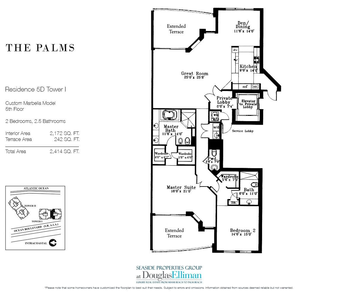 Floorplan for Residence 5D, Tower I at The Palms, Luxury Oceanfront Condominiums Fort Lauderdale, Florida 33305