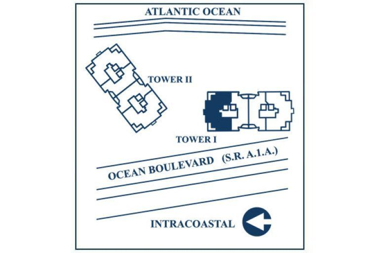 Siteplan for Residence 11B, Tower I at The Palms, Luxury Oceanfront Condominiums Fort Lauderdale, Florida 33305