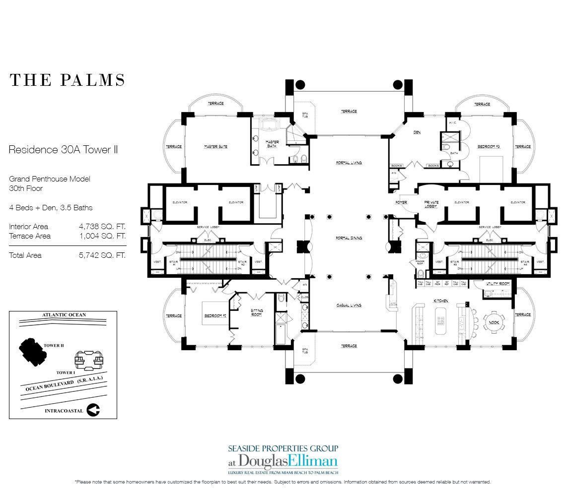 Floorplan for The Palms, Grand Penthouse 30A, Tower II, Fort Lauderdale, FL 33305