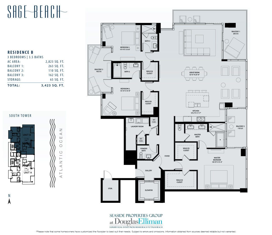 Floorplan for Residence 4B at Sage Beach, Luxury Oceanfront Condominiums in Hollywood, Florida 33019