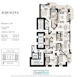 Floorplan for Residence 1106 at Acqualina, Luxury Oceanfront Condominiums in Sunny Isles Beach, Florida 33160