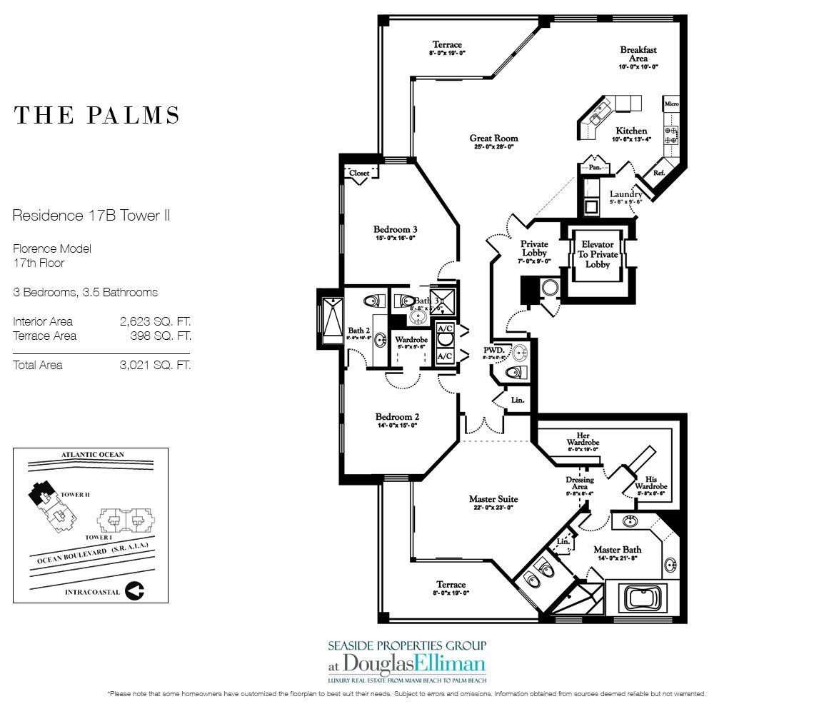 Floorplan for Residence 17B, Tower II at The Palms, Luxury Oceanfront Condos in Fort Lauderdale, Florida 33305.