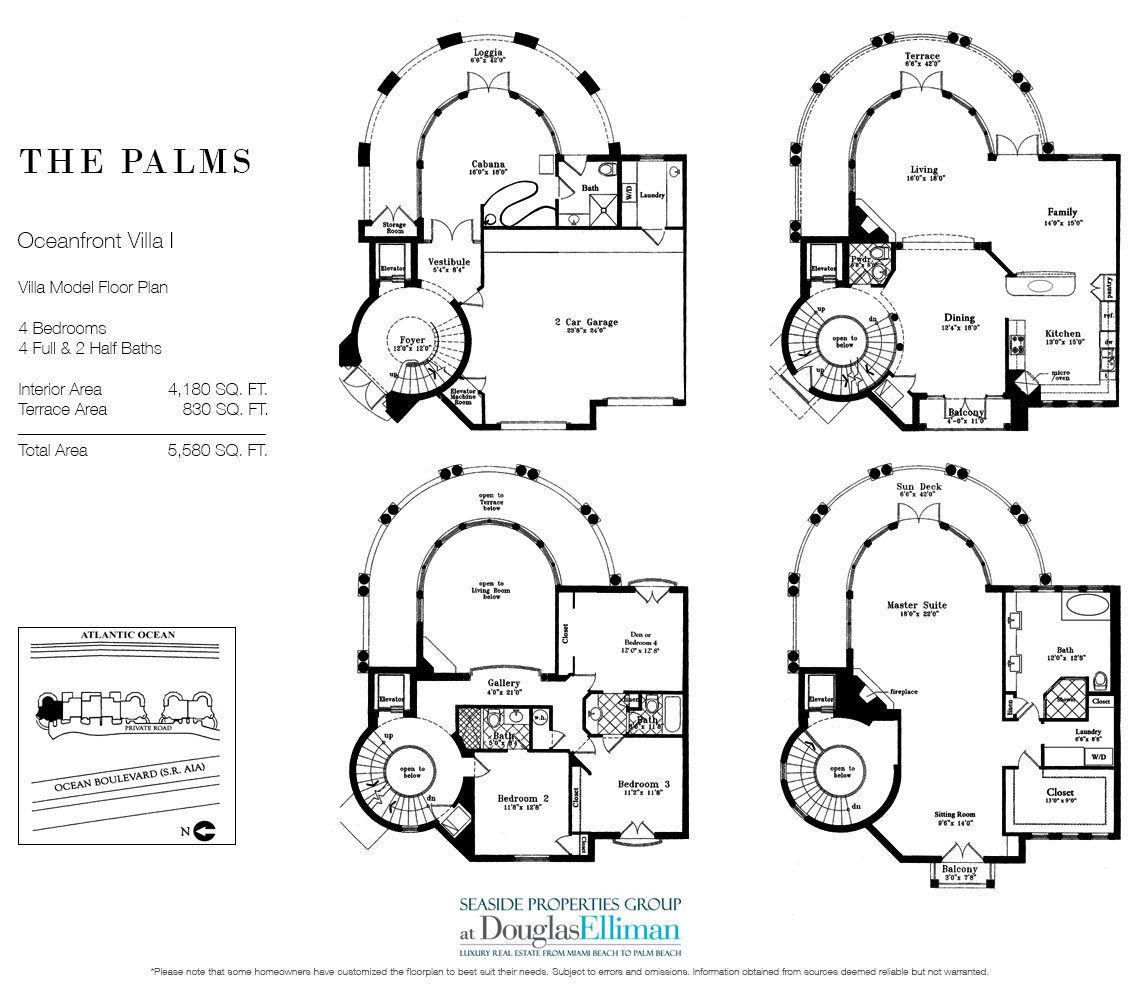 Floorplan for Oceanfront Villa 1 at The Palms, Luxury Oceanfront Condominiums Fort Lauderdale, Florida 33305