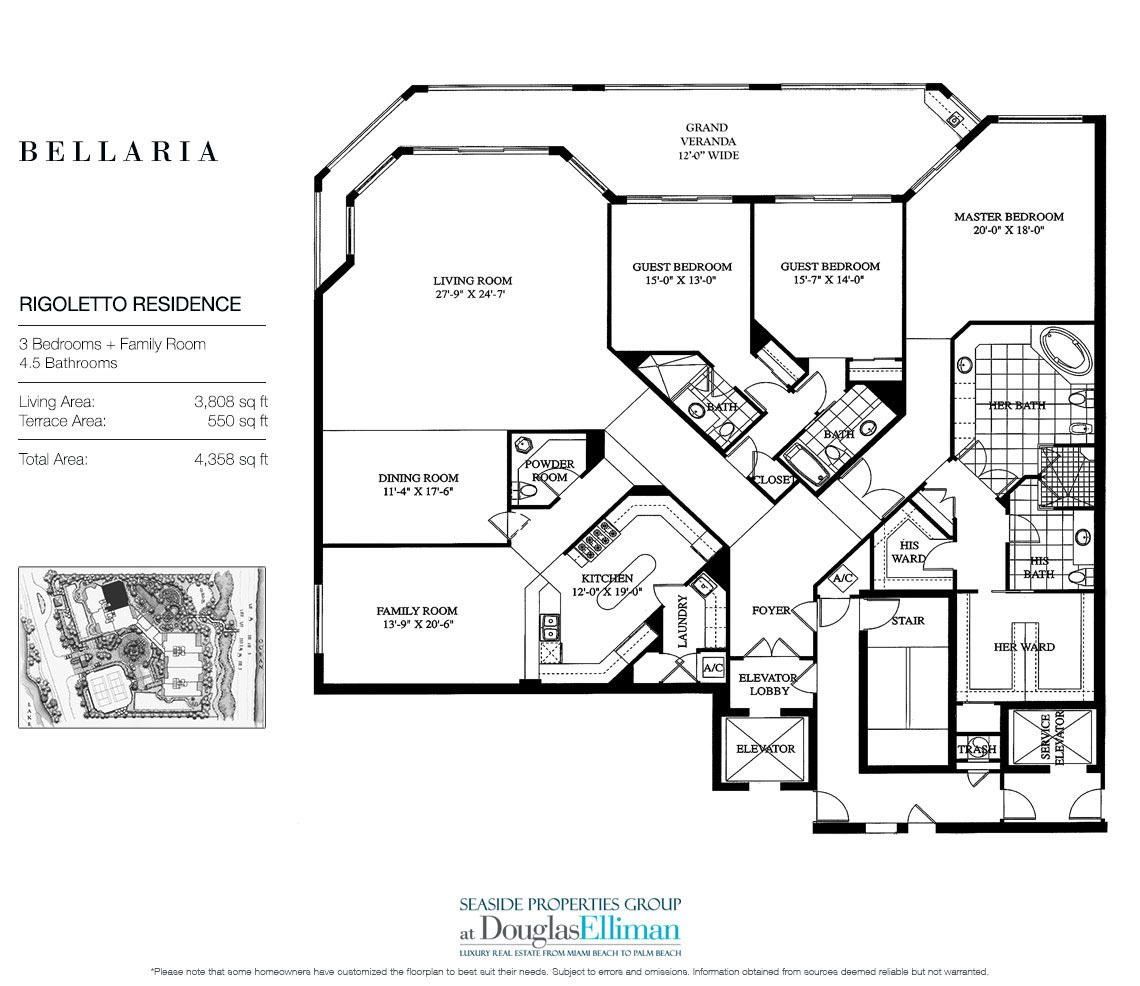 Floorplan for Residence 304 at Bellaria, Luxury Oceanfront Condominiums in Palm Beach, Florida 33480.