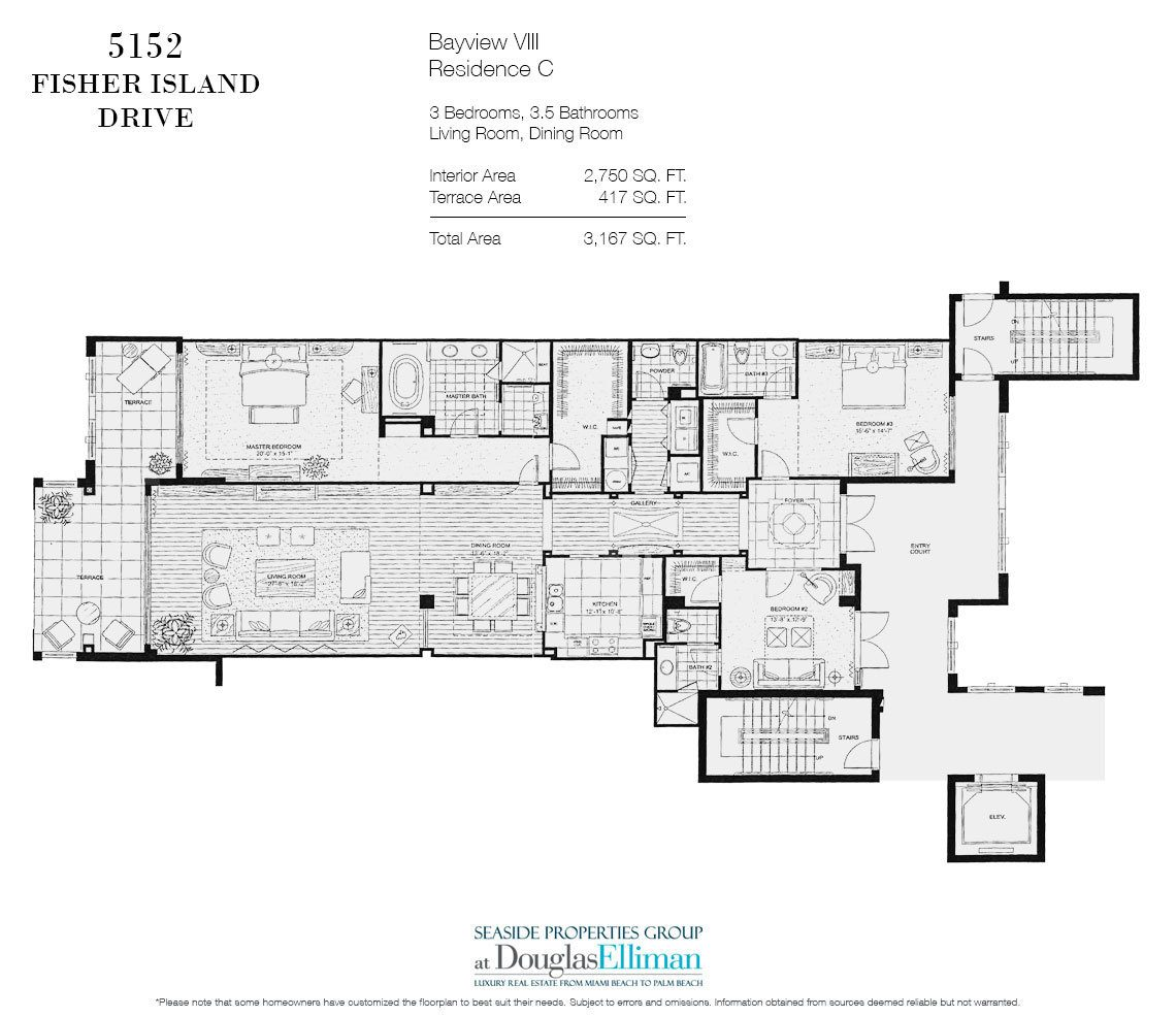 Floorplan for Luxury Oceanfront Condo Residence 5152 Fisher Island Drive, Miami Beach, FL 33109
