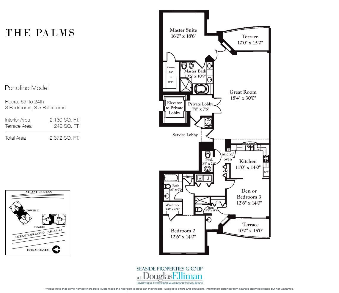 Floorplan for Residence 6A, Tower II For Sale at The Palms, Luxury Oceanfront Condominiums Fort Lauderdale, Florida 33305