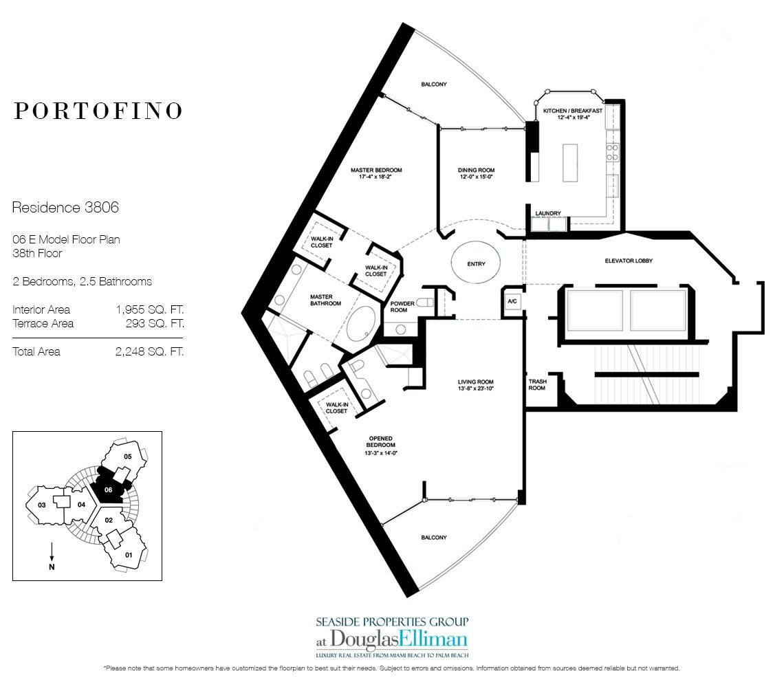 Floorplan for Residence 3806 at Portofino Tower, Luxury Waterfront Condominiums in Miami Beach, Florida 33139