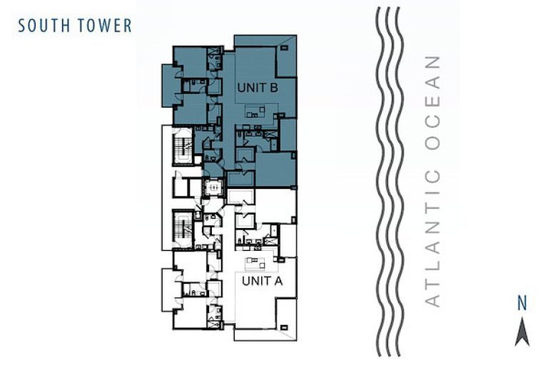 Siteplan for Residence 4B at Sage Beach, Luxury Oceanfront Condominiums in Hollywood, Florida 33019