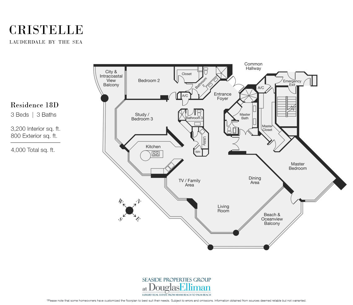 Floorplan for Residence 18D at Cristelle, Luxury Oceanfront Condominiums in Lauderdale by the Sea, Florida 33062.