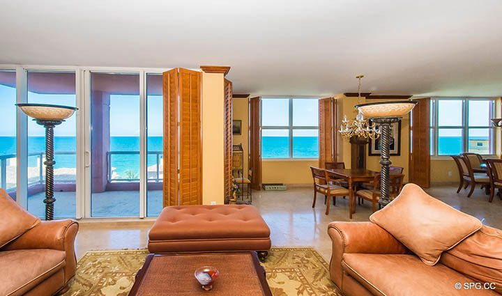 Living Room Ocean Views from Residence 9B, Tower I at The Palms, Luxury Oceanfront Condos in Fort Lauderdale, Florida 33305.