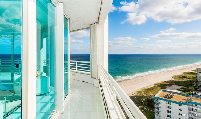 Wrap-Around Terrace at Residence 18D at Cristelle, Luxury Oceanfront Condominiums in Lauderdale by the Sea, Florida 33062.
