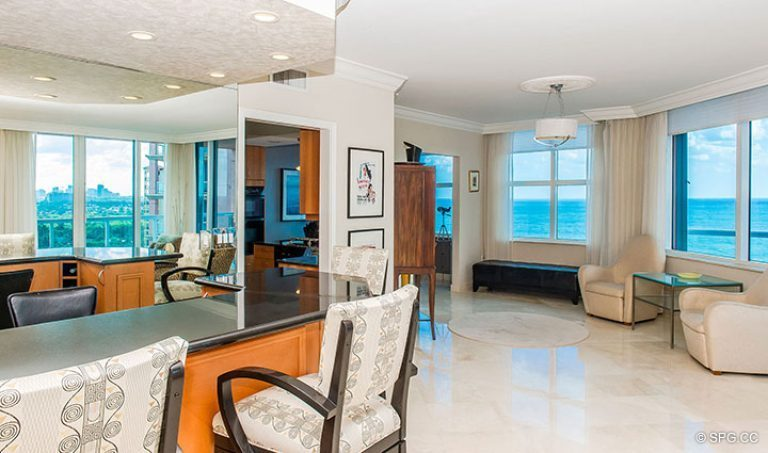 Great Room Bar Area in Residence 15E, Tower II at The Palms, Luxury Oceanfront Condos in Fort Lauderdale, Florida 33305.