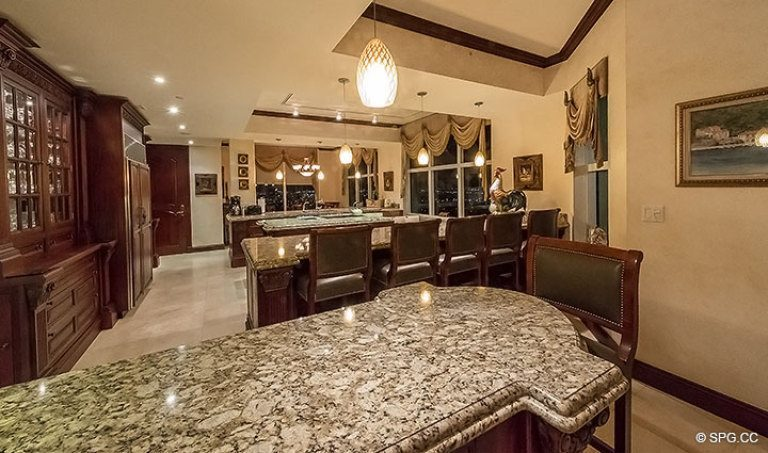 Enormous Gourmet Kitchen for Grand Penthouse 30A, Tower II at The Palms, Luxury Oceanfront Condos in Fort Lauderdale, South Florida 33305