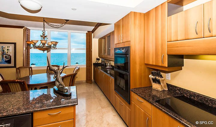 Expanded Gourmet Kitchen in Residence 9B, Tower I at The Palms, Luxury Oceanfront Condos in Fort Lauderdale, Florida 33305.