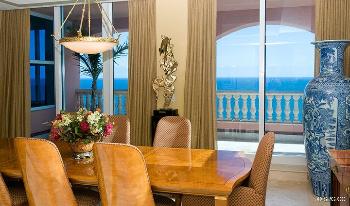 View from Dining Area at Luxury Oceanfront Residence at 25D, Tower II, The Palms Condominium, 2110 North Ocean Boulevard, Fort Lauderdale Beach, Florida 33305, Luxury Seaside Condos, The Palms Tower II