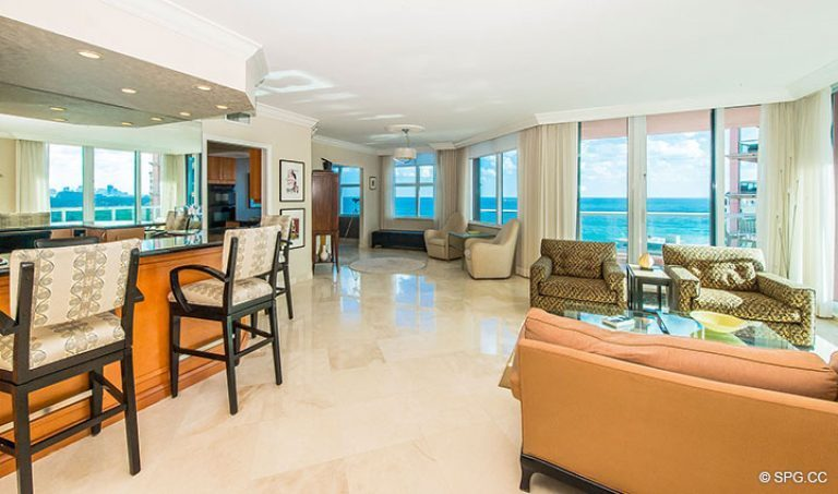 Great Room with Ocean Views in Residence 15E, Tower II at The Palms, Luxury Oceanfront Condos in Fort Lauderdale, Florida 33305.