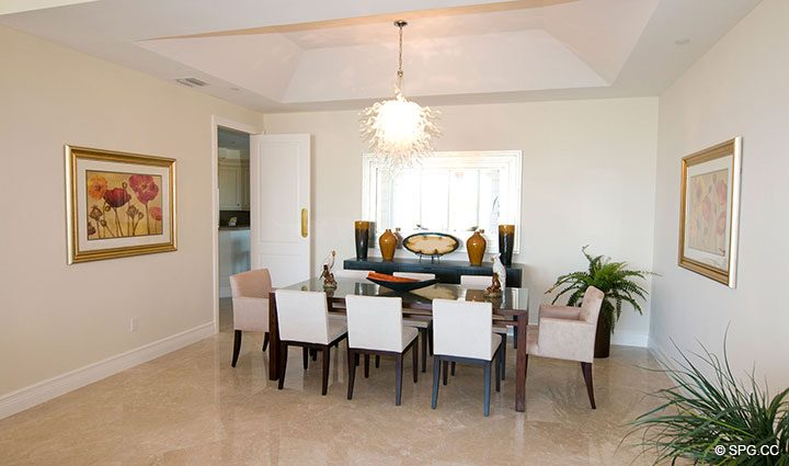 Dining Room inside Residence 304 at Bellaria, Luxury Oceanfront Condominiums in Palm Beach, Florida 33480.