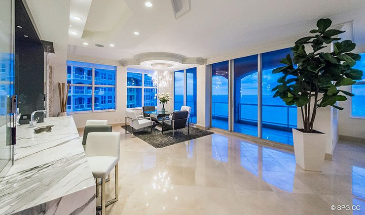 Dining Area inside Penthouse Residence 26A, Tower I at The Palms, Luxury Oceanfront Condos in Fort Lauderdale, Florida 33305.