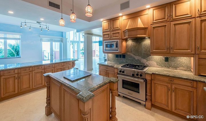 Large Gourmet Kitchen inside Oceanfront Villa 7 at The Palms, Luxury Oceanfront Condominiums Fort Lauderdale, Florida 33305