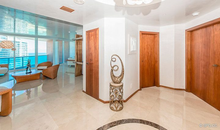 Entry Foyer inside Residence 3806 at Portofino Tower, Luxury Waterfront Condominiums in Miami Beach, Florida 33139