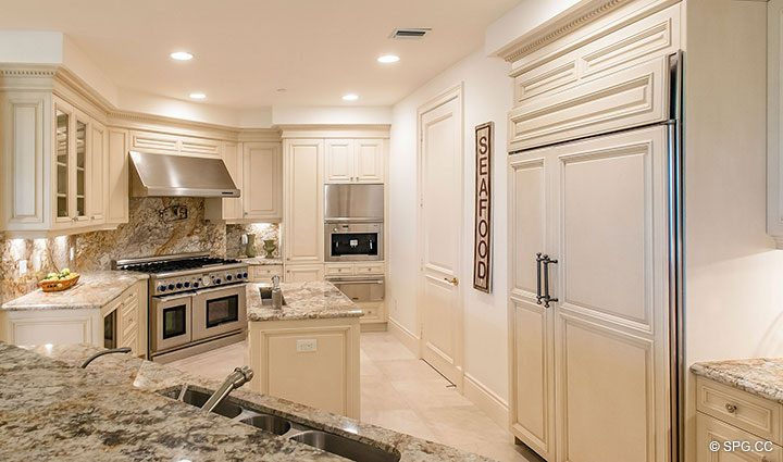 Gourmet Kitchen inside Residence 204 at Bellaria, Luxury Oceanfront Condominiums in Palm Beach, Florida 33480.