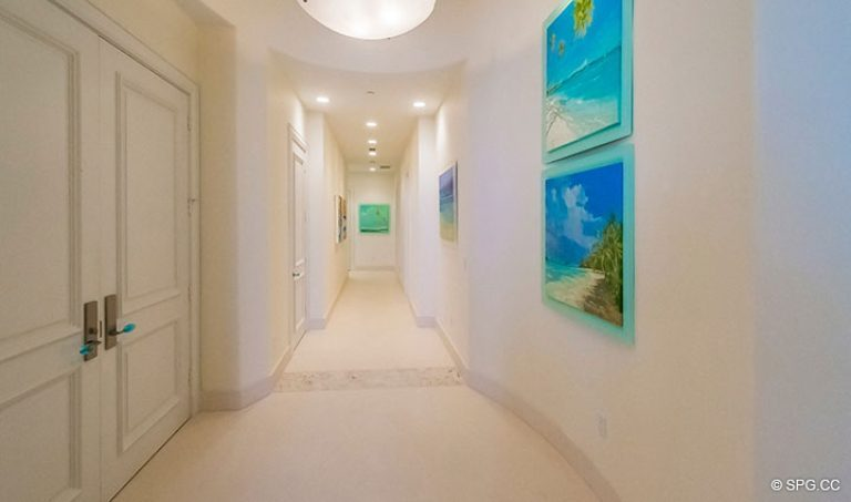 Entrance into Foyer inside Penthouse 7 at Bellaria, Luxury Oceanfront Condominiums in Palm Beach, Florida 33480.