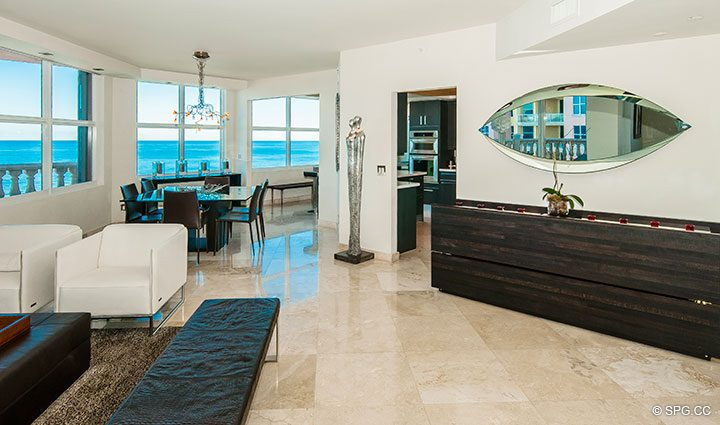 Great Room inside Residence 11B, Tower I at The Palms, Luxury Oceanfront Condominiums Fort Lauderdale, Florida 33305