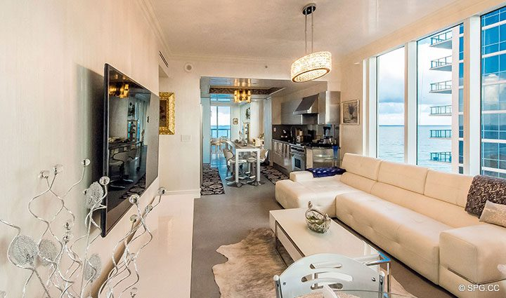 Family Room inside Residence 1106 at Acqualina, Luxury Oceanfront Condominiums in Sunny Isles Beach, Florida 33160