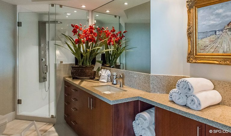 Guest Bath inside Residence 18D at Cristelle, Luxury Oceanfront Condominiums in Lauderdale by the Sea, Florida 33062.