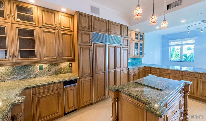 Gourmet Kitchen with Island in Oceanfront Villa 7 at The Palms, Luxury Oceanfront Condominiums Fort Lauderdale, Florida 33305
