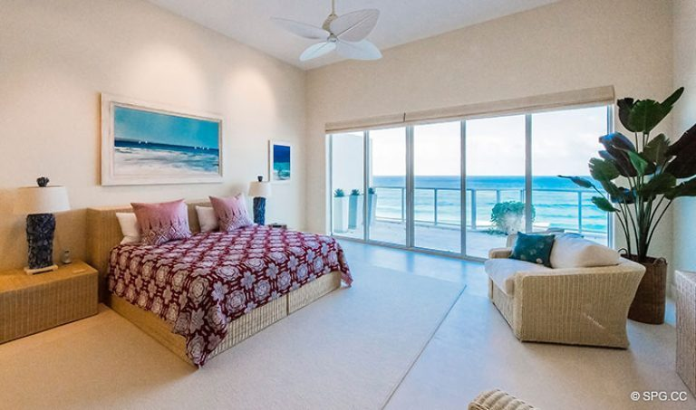 Master Bedroom inside Penthouse 7 at Bellaria, Luxury Oceanfront Condominiums in Palm Beach, Florida 33480.