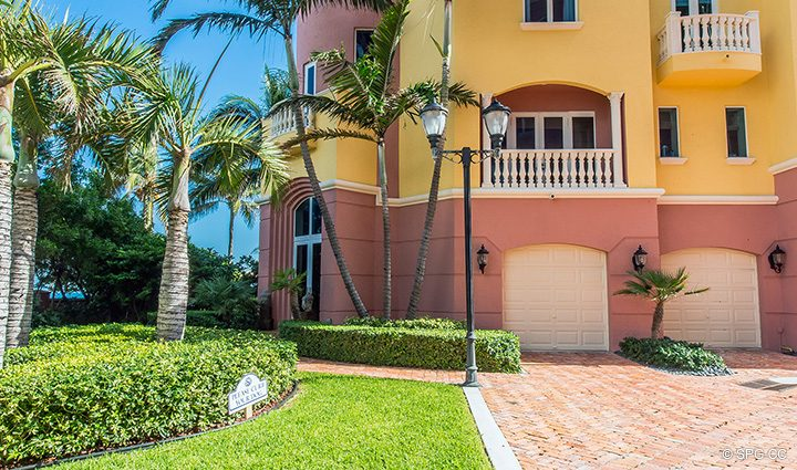 Private Driveway leading to Oceanfront Villa 1 at The Palms, Luxury Oceanfront Condominiums Fort Lauderdale, Florida 33305