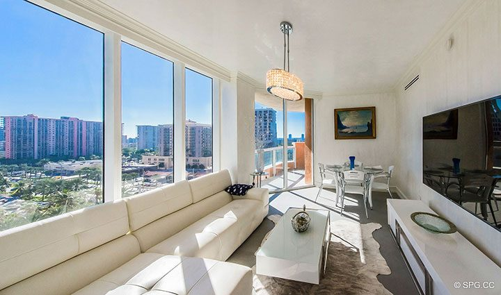 Family Room in Residence 1106 at Acqualina, Luxury Oceanfront Condominiums in Sunny Isles Beach, Florida 33160