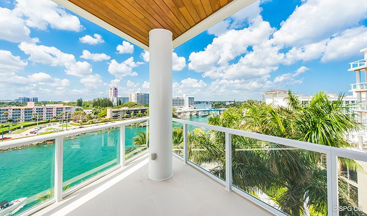 Intracoastal Terrace for Residence 501 For Sale at 1000 Ocean, Luxury Oceanfront Condos in Boca Raton, Florida 33432.