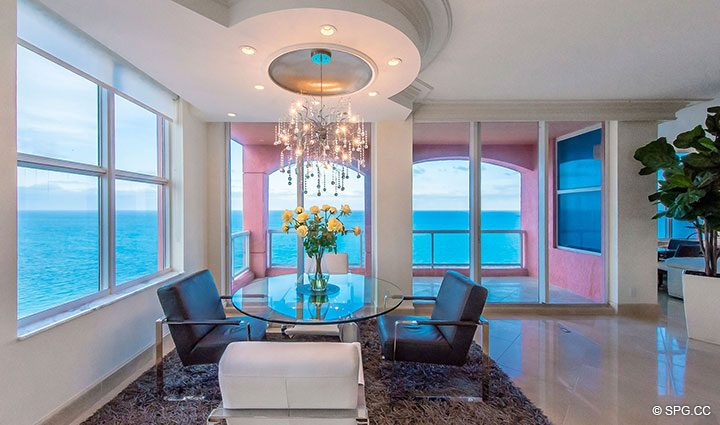 Dine Oceanside in Penthouse Residence 26A, Tower I at The Palms, Luxury Oceanfront Condos in Fort Lauderdale, Florida 33305.