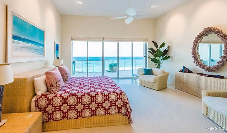 Master Bedroom with Terrace Access in Penthouse 7 at Bellaria, Luxury Oceanfront Condominiums in Palm Beach, Florida 33480.